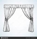 Curtain Drawing Vector Illustration Line Getdrawings sketch template