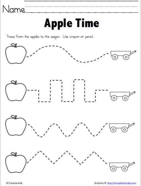 fine motor tracing practice  apple season