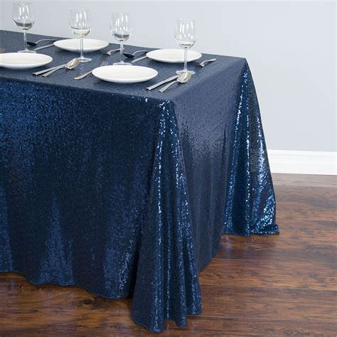 88 x 154 in. Rectangular Sequin Tablecloth Navy Blue