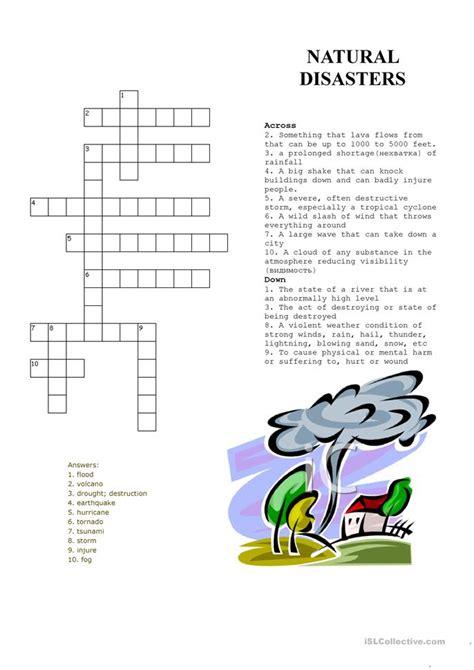 crossword puzzle natural disasters worksheet  esl