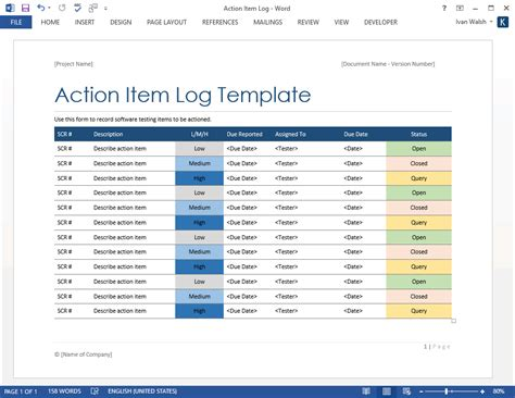 action item log ms excelword software testing templates