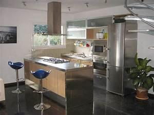 Plan De Travail Ilot : plan de travail cuisine en inox plan travail cuisine ~ Premium-room.com Idées de Décoration