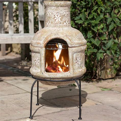 la hacienda star flower  grill clay chiminea small cm