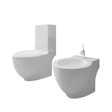 wc with bidet vidaxl nl staand toilet en bidet set wit