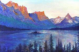 St Mary's Lake Montana Painting by Lou Ann Bagnall