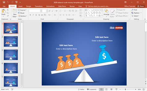 balanza template powerpoint free balance scale with money bags powerpoint template