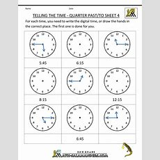 Math Worksheets For 2nd Graders  Second Grade Math Worksheets Telling The Time Quarter Past To