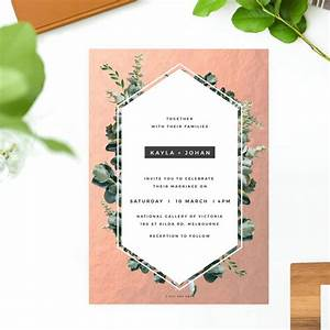 rose gold foil modern botanical wedding invitations australia With rose gold foil wedding invitations australia
