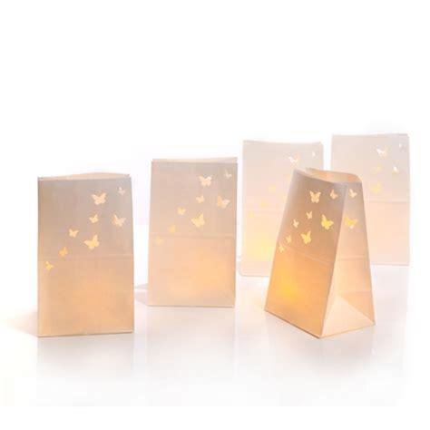lanterne ou sachet de papier blanc motif papillons chauffe plat led