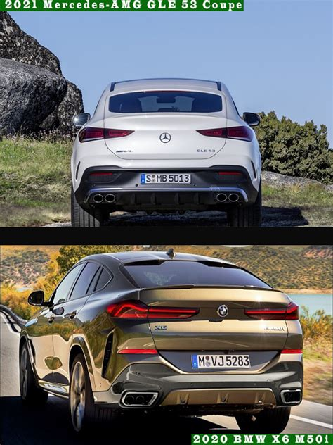 The bmw wins the booty contest with the largest rear end, complete with huge taillights and a number of metallic accents. 2020 BMW X6 vs 2021 Mercedes-AMG GLE 53 Coupe: Which one ...