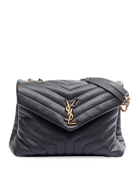 saint laurent loulou medium ysl monogram pebbled leather flap shoulder bag neiman marcus