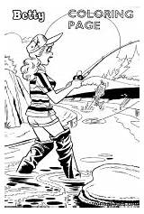 Coloring Pages Betty Fishing Veronica Fly Archie Comics Fish Sports Gear Comic Cartoon Dailycoloringpages Storage Travel sketch template