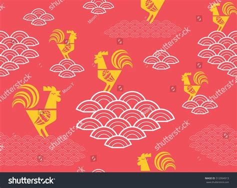 chinese zodiac year rooster design red stock vector
