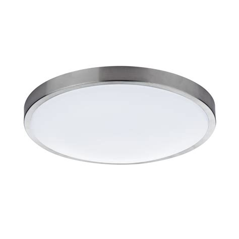 contemporary flush led ceiling light in satin chrome