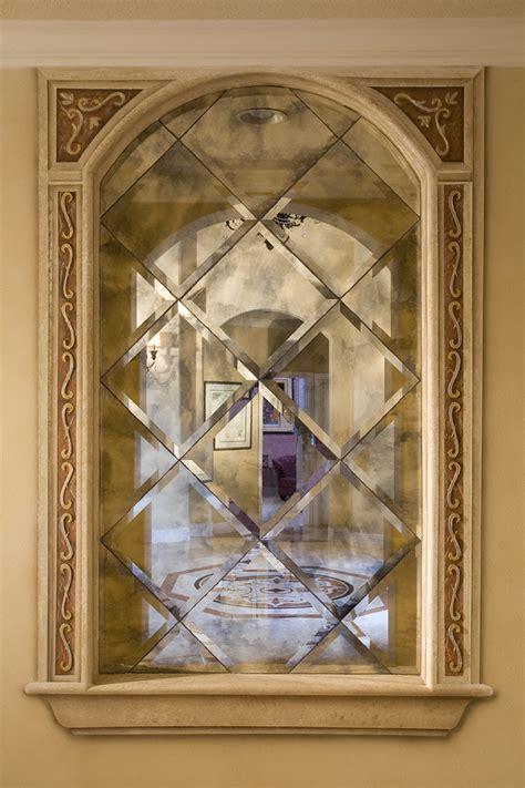 antique mirror tiles antique mirror tiles entry mediterranean with arch