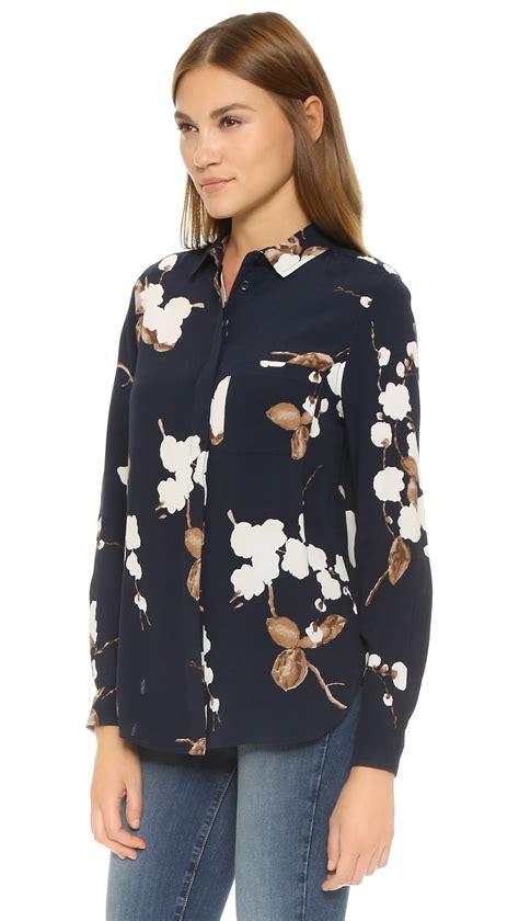 lyst ganni ryder blouse navy japanese flower  blue