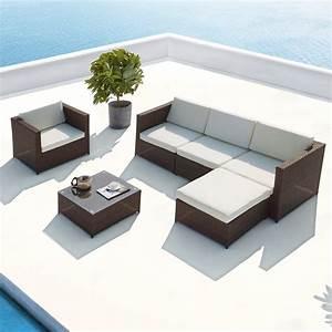 Salon En Resine : salon de jardin en r sine tress e aluminium 5 places marron blanc ~ Teatrodelosmanantiales.com Idées de Décoration