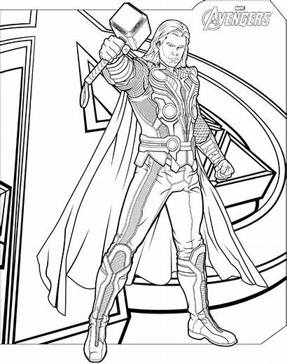 Thor Marvel Avengers Coloring Pages Printable A4