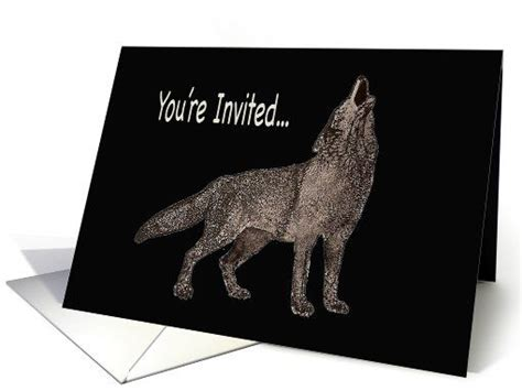 watercolor painting   howling wolf party invitation