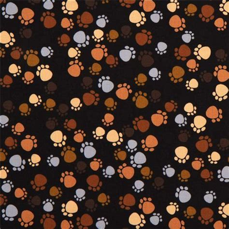Cheap Animal Print Wallpaper - black designer fabric with brown paw prints cat