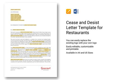 cease  desist letter template  restaurants  word