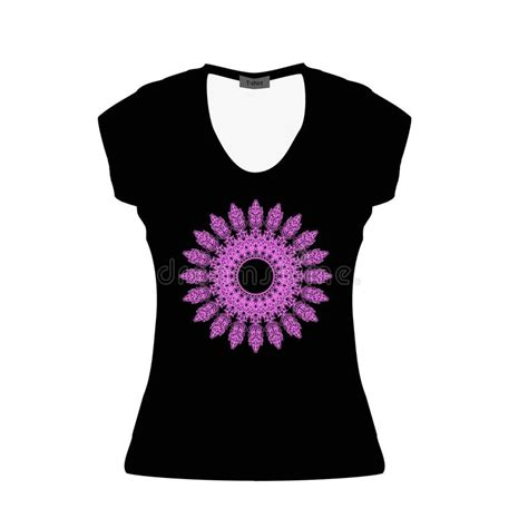 You can now have a female drummer sport your tee design with ease. Black Women T-shirt With Serenevoy Mandala. Mockup. Vector ...