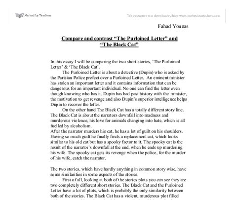 the purloined letter summary compare and contrast the purloined letter and the black 25216
