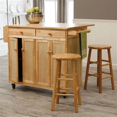 Wooden Island Stools by Kitchen Island Cart With Stools