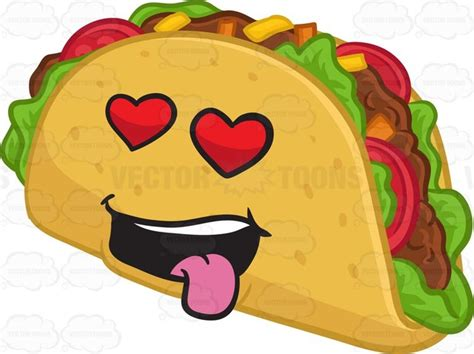 A Hard Shell Taco Snack Looking Hopelessly In Love Cartoon
