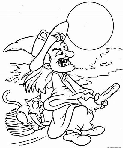 Coloring Witch Printable Pages Broom Flying Halloween