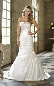 satin sweetheart strapless trumpet side draped ruched With wedding dress ruching