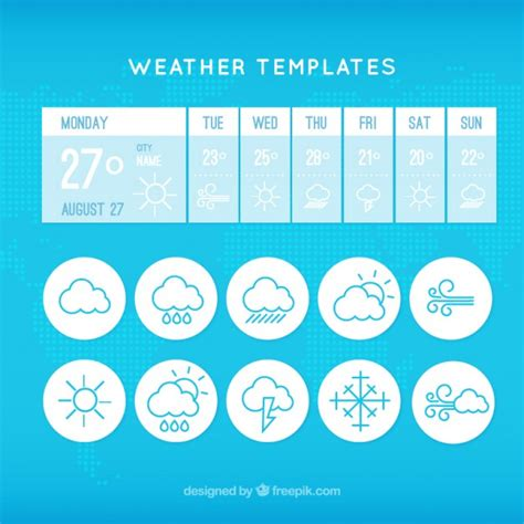 weather forecast template weather app template with icons vector free