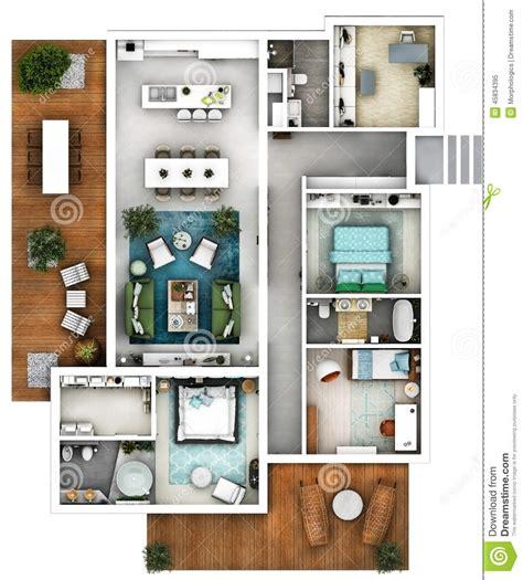 plan de maison 4 chambres avec 騁age plan de l 39 étage 3d photo stock image 45834395