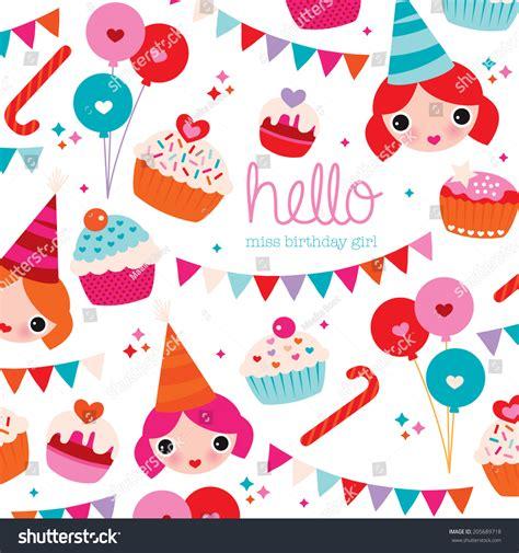 Happy Birthday Little Girl Birthday Party Stock Vector