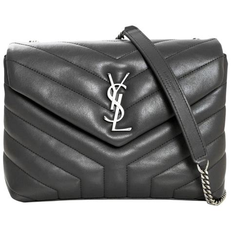 yves saint laurent grey  quilted calfskin small monogram loulou flap bag  sale  stdibs