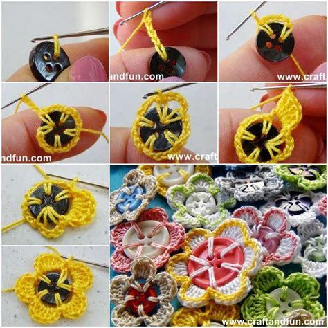 cute button crochet flowers