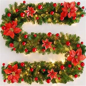 Flower, Luxury, 2, 7mx30cm, Thick, Christmas, Garland, Green, Christmas, Rattan, With, Bows, Led, Lights, Xmas