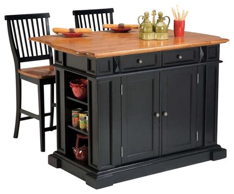 suspended kitchen cabinets home styles kitchen island and stools in black and 2620