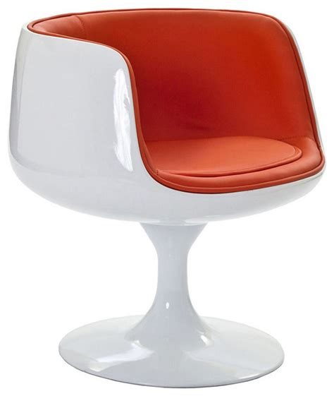 modern white fiberglass lounge chair with orange seat