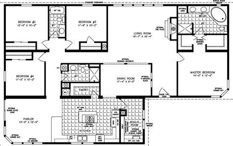 4 bedroom floor plan manufactured homes floor plans jacobsen homes