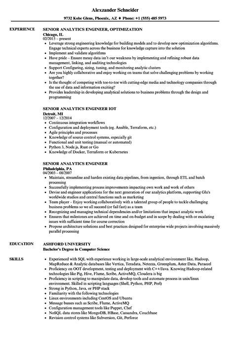 senior analytics engineer resume sles velvet
