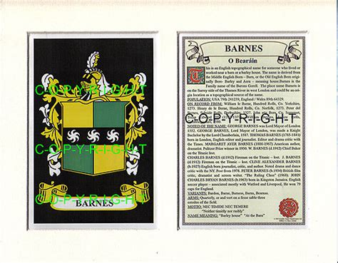 Barnes Family Crest And History