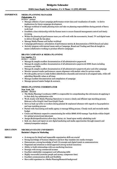 Media Planner Resume by Media Planning Resume Sles Velvet