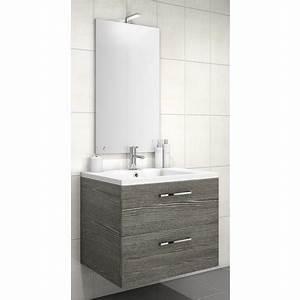 Meuble 70 Cm De Large : meuble sous vasque loft 2 tiroirs de 70 cm mod le bois sci e gris ~ Teatrodelosmanantiales.com Idées de Décoration