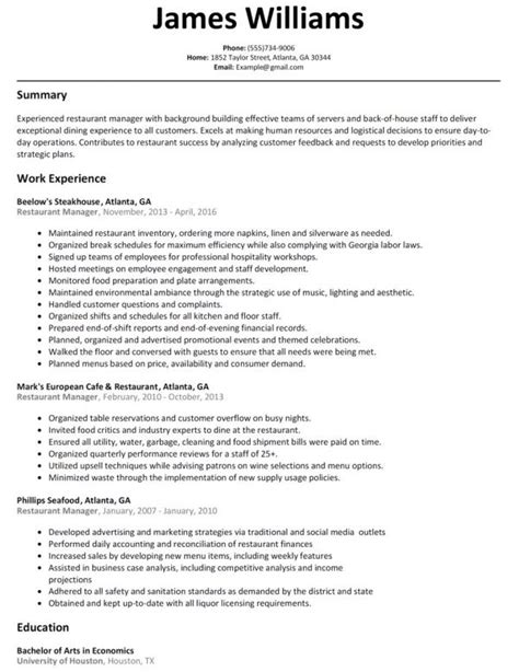 Sle Restaurant Manager Resume by Restaurant Manager Resume Template Business