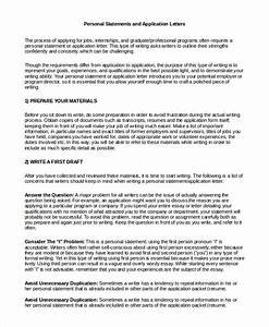 personal statement letter format sample statement