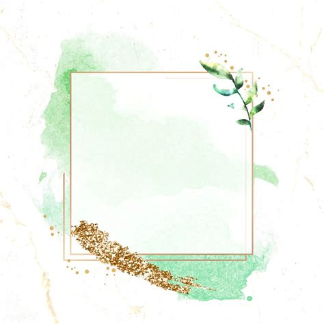 Download premium vector of Gold square frame on a green