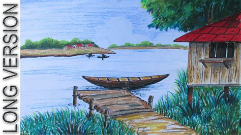 Village Boat Drawing by How To Draw A Riverside Village Landscape Long Version