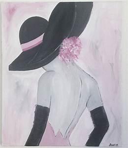 Tableau Rose Et Gris : tableau femme romantique 3 tableau contemporain tableau peinture acrylique tableaux ~ Teatrodelosmanantiales.com Idées de Décoration