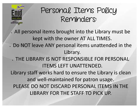 enid public library policy reminders enid public library